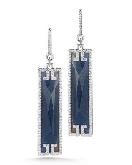 Patras Sliver 18k Black Blue Sapphire Diamond Earrings