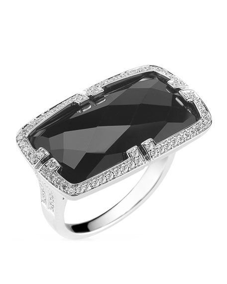 Patras 18k Horizontal Black Onyx Ring with Deco Diamonds