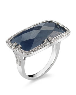 Ivanka Trump Patras 18k Horizontal Blue Sapphire Ring with Deco Diamonds
