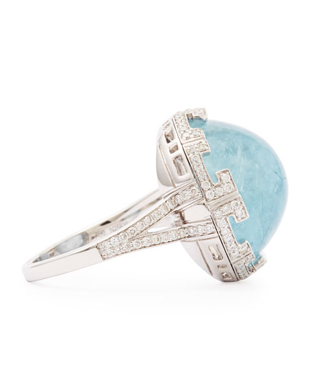 Patras Round Aquamarine Ring with Deco Diamond