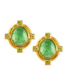 Elizabeth Locke Cab Boy & Bird Intaglio Clip/Post Earrings, Green