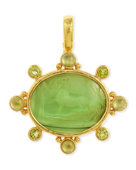 Horse with Sleeping Maiden Antique 19k Gold Intaglio Pendant, Green