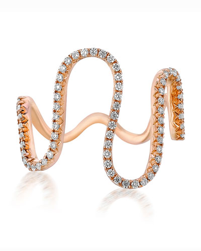 A Link 18k Rose Gold Diamond Wave Ring