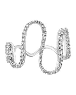 A Link 18k White Gold Diamond Wave Ring