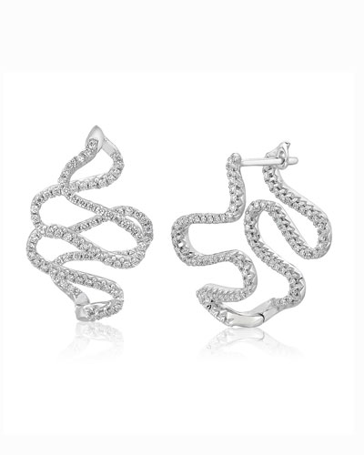 A Link 18k White Gold Small Snake Diamond Earrings