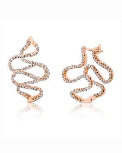 A Link 18k Rose Gold Small Snake Diamond Earrings