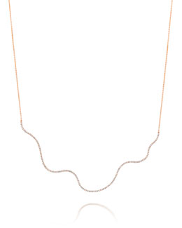 A Link 18k Rose Gold Large Wave Diamond Necklace