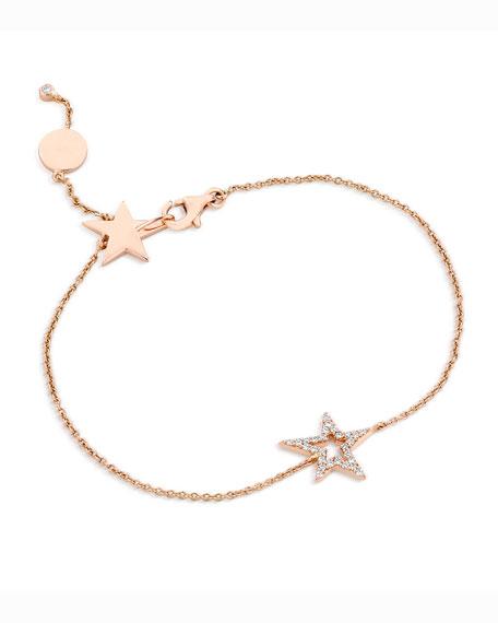 18k Rose Gold Small Star Diamond Bracelet