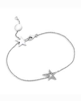A Link 18k White Gold Small Star Diamond Bracelet