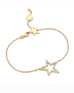 A Link 18k Yellow Gold Large Star Diamond Bracelet