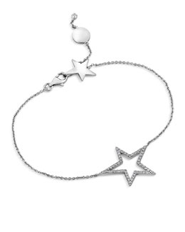 A Link 18k White Gold Large Star Diamond Bracelet