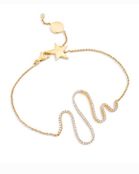 18k Yellow Gold Diamond Snake Bracelet