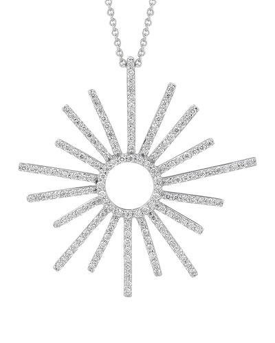 A Link 18k White Gold Small Sunburst Diamond Pendant Necklace