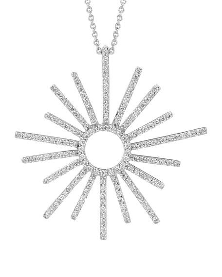18k White Gold Small Sunburst Diamond Pendant Necklace