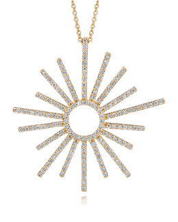 A Link 18k Yellow Gold Small Sunburst Diamond Pendant Necklace