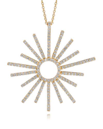 A Link 18k Yellow Gold Small Sunburst Diamond Pendant Necklace