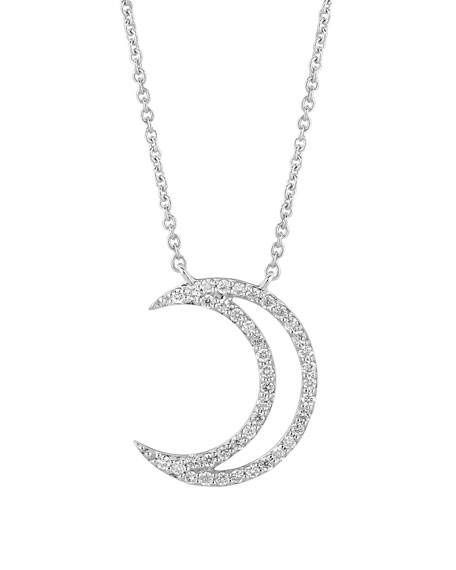18k White Gold Small Moon Pendant