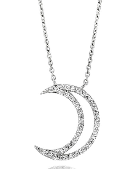 18k White Gold Large Moon Diamond Pendant Necklace