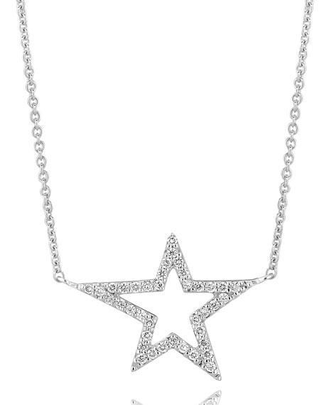 18k White Gold Small Star Diamond Pendant Necklace