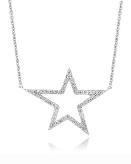 A Link 18k White Gold Large Star Diamond Pendant Necklace