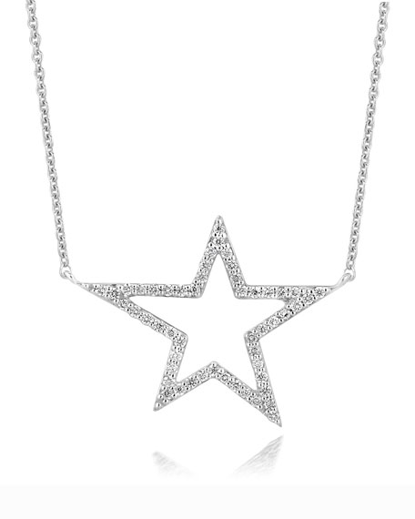 18k White Gold Large Star Diamond Pendant Necklace