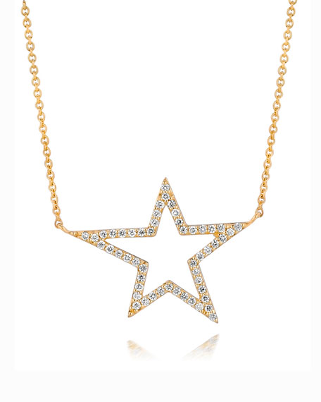 18k Yellow Gold Large Star Diamond Pendant Necklace