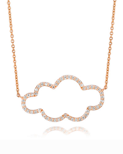 A Link 18k Rose Gold Small Cloud Diamond Pendant Necklace