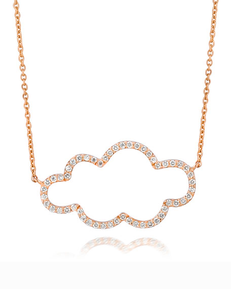 18k Rose Gold Small Cloud Diamond Pendant Necklace