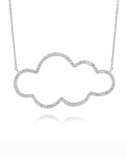 A Link 18k White Gold Medium Cloud Diamond Pendant Necklace