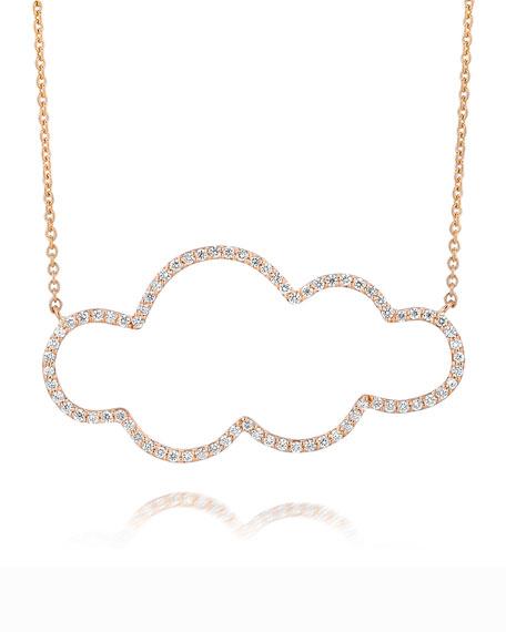 18k Rose Gold Medium Cloud Diamond Pendant Necklace