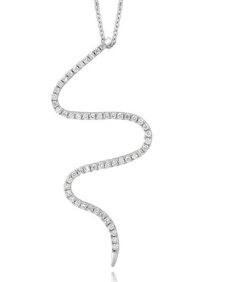 18k White Gold Small Snake Diamond Pendant Necklace