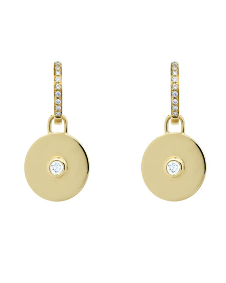 Domino White Topaz Disc Earrings in 18k Yellow Gold