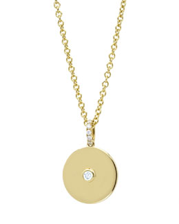 Kiki McDonough Domino White Topaz Disc Pendant in 18k Yellow Gold