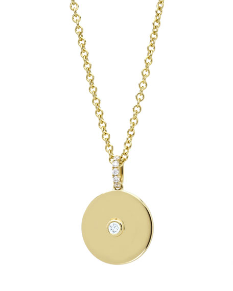 Domino White Topaz Disc Pendant in 18k Yellow Gold