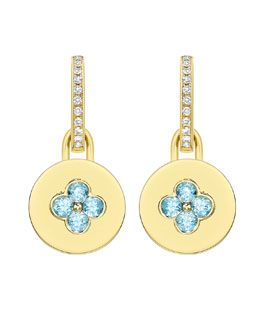 Kiki McDonough Domino Blue Topaz Four Stone Earrings in 18k Yellow Gold
