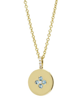 Kiki McDonough Domino Blue Topaz Four Stone Pendant in 18k Yellow Gold