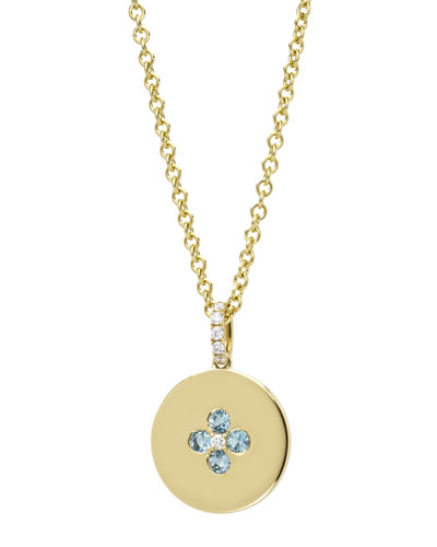 Domino Blue Topaz Four Stone Pendant in 18k Yellow Gold