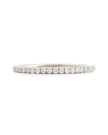 18k White Gold & Pave White Diamond Micro Band Ring