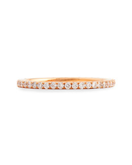 Bessa 18k Rose Gold & Pave White Diamond Micro Band Ring