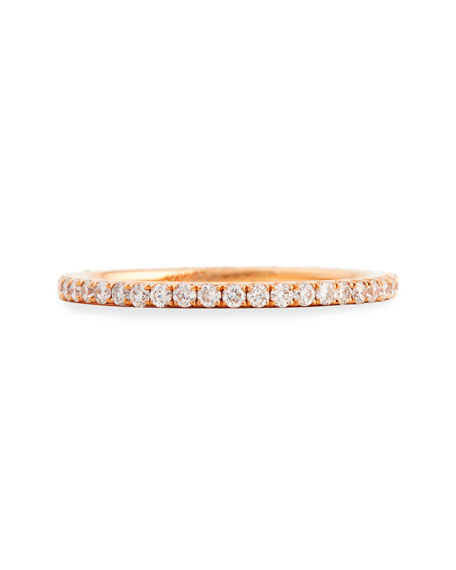 18k Rose Gold & Pave White Diamond Micro Band Ring