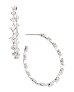 Forevermark 18k White Gold Round Diamond-Station Hoop Earrings, 2.66 TCW