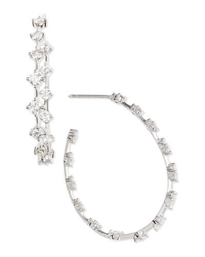 Forevermark 18k White Gold Round Diamond-Station Hoop Earrings, 2.66 TCW
