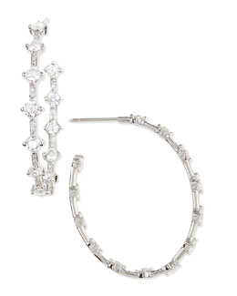 Maria Canale for Forevermark 18k White Gold Pear-Shaped Diamond Hoop Earrings, 6.51 TCW