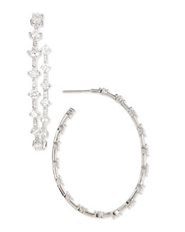 "Maria Canale for Forevermark 18k White Gold Diamond 2"" Hoop Earrings, 4.12 TCW"