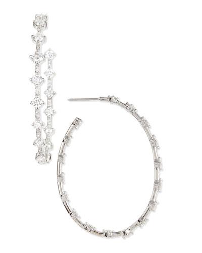 """Forevermark 18k White Gold Diamond 2"""" Hoop Earrings, 4.12 TCW"""
