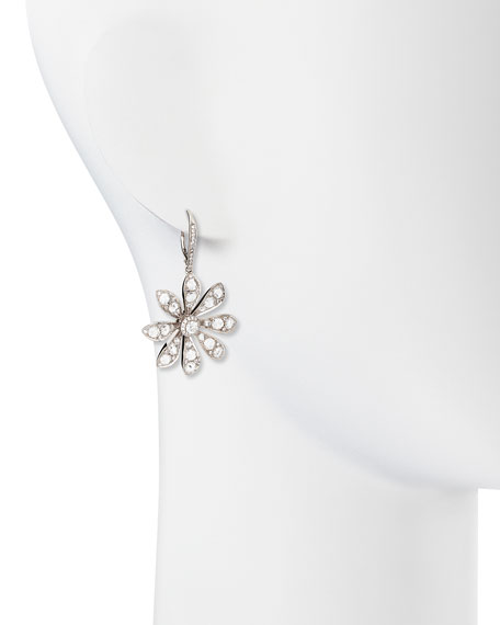 18k White Gold Round & Rose-Cut Diamond Small Flower Drop Earrings