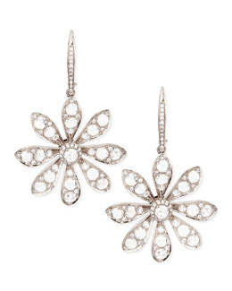 Forevermark 18k White Gold Round & Rose-Cut Diamond Small Flower Drop Earrings