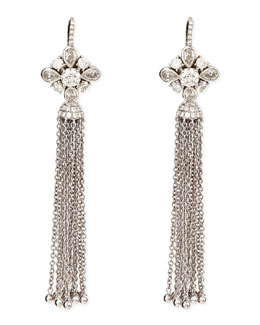Forevermark 18k White Gold Round, Pear, & Pave Diamond Earrings with Detachable Tassel