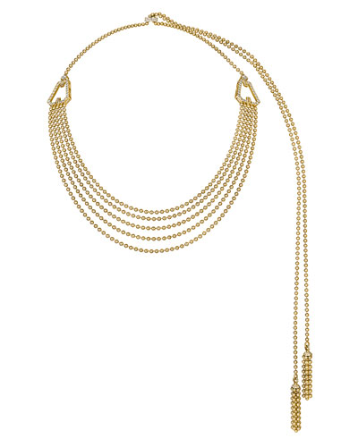 18k Yellow Gold Ball Lariat Necklace with White Diamonds