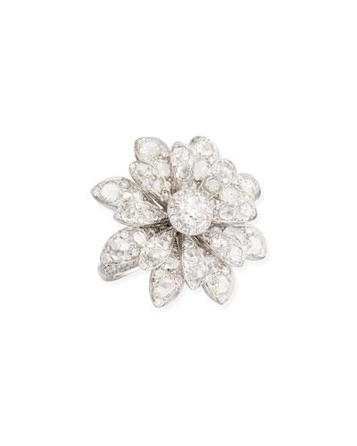 Forevermark 18k White Gold Round & Rose-Cut Diamond Flower Ring